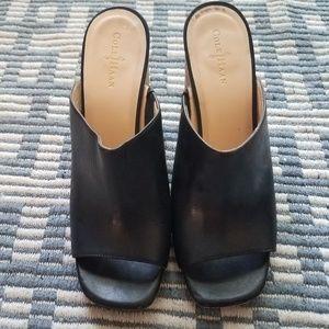 COLE HAAN Slip On Leather Peep Toe Block Heels  8B